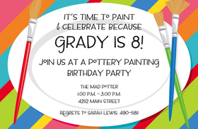 This creative invitation features a fun background of boldly-colored stripes and three paintbrushes, with the text area in the shape of a large white plate.  Perfect for your childs next painting party! Available either blank or personalized.  Includes white envelope.