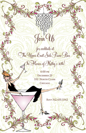 Its martini time! This fun cocktail invitation is decorated with a woman in a black cocktail dress relaxing in a giant martini glass. It is garnished with a hanging chandelier and vines along the border, set against a pale paisley background. Glitter upgrade available for an additional $0.30 per card. Printed on white textured card stock and includes coordinating colored envelopes.