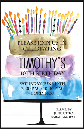 This creative and colorful invitation features three yummy layers of a water-colored birthday cake, with lots of multi-colored candles on top! Perfect for any birthday party invitation! Available either blank or personalized.  Includes white envelope.