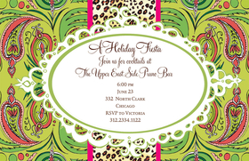 Are you hosting a holiday party? This green and red design is perfect for a wild party during the holiday season! It shows a colorful paisley design and a center stripe of leopard print. Printed on white textured card stock and includes coordinating colored envelopes.