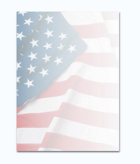 This patriotic paper is designed with a flag waving with pride across the paper.  perfect for your next 4th of July event.  Colored envelopes are available but are sold seperate.