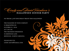 This invitation shows Halloween and its finest. It has an elegant orange and white swirling floral design set against a black background. Perfect for a Halloween dinner party or formal celebration! Digitally printed on 100lb cardstock and includes a white envelope.