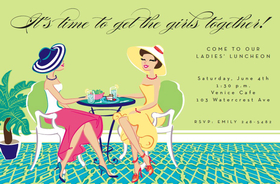 Invitations birthday gals birthday lunch girls invitation this contemporary invitation features two well dressed ladies in beautiful outfits and high heels stopboris Images