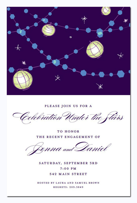 What a beautiful way to invite friends and family to an engagement party or evening get-together!  The dark night sky is the backdrop for rows of lights and paper lanterns.  Stars twinkle throughout.  Available blank or personalized.  Includes ivory envelope.