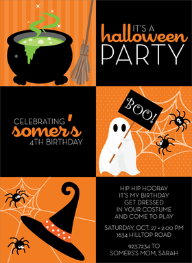 This fun squares invitation has three black squares for your personalized wording and three orange squares with a witchs brew, ghost, and witch hat! Spiders and cobwebs decorate the corners, making this invitation an awesomely freaky Halloween choice! Digitally printed on 100lb cardstock and includes a white envelope.
