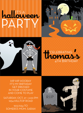 This fun squares invitation has three orange squares for your personalized wording and three black squares with a haunted house, pirate skeleton and ghost, and zombie mummy escaping from the grave! Its frighteningly fun for Halloween! Digitally printed on 100lb cardstock and includes a white envelope.