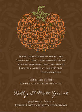 Celebrating Thanksgiving is a favorite time in the fall! Share the special warmth of the season with those you love by inviting them together with this invitation. It has a filigree pumpkin made out of swirling vines and leaves. The pumpkin masterpiece is set against a brown background. Digitally printed on 100lb cardstock and includes a white envelope.