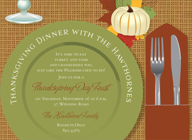 Get ready for Thanksgiving! This fall place setting invitation is decorated with a green plate, silverware, and a white pumpkin on fall leaves set against a brown thatched background. With all the colors of fall, it is perfect for a fall dinner party or Thanksgiving dinner. Digitally printed on 100lb cardstock and includes a white envelope.