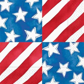Fun patriotic stars and stripe luncheo napkin make a great addition to your table for this next fourth of july barbeque or independence day picnic.  Coordinating pieces available.