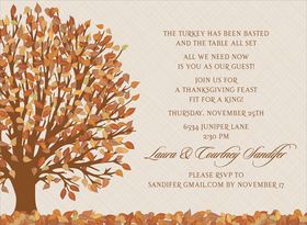 The leaves tumble gracefully from the sky and leave the ground a mesh of color. This invitation shows just such a gorgeous autumn scene set against an ecru background. Enjoy this invitation for a Thanksgiving dinner, a fall wedding, or an autumn open house. Digitally printed on 100lb cardstock and includes a white envelope.