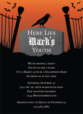 The crows will be out this Halloween! Celebrate with this Halloween party invitation that has a gravestone in a graveyard with a black crow resting on top and bats flying off in the distance. Use it for a Halloween birthday party too! Digitally printed on 100lb cardstock and includes a white envelope.