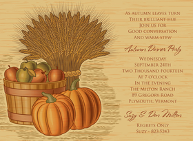 Ready for an autumn harvest? This bountiful invitation shows a barrel of apples, pumpkins, and a bushel of wheat against a wood grain background. Celebrate autumn with a dinner party or use this invitation for Thanksgiving! Digitally printed on 100lb cardstock and includes a white envelope.