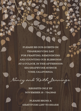 Enjoy the fall season with cascading leaves! This lovely invitation shows light, translucent leaves tumbling softly from their branches against a rich tree trunk background. Perfect for a fall wedding or engagement event. Digitally printed on 100lb cardstock and includes a white envelope.