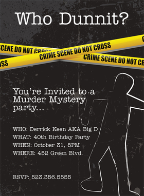 Holiday seasonal halloween invitation cardstock murder mystery turn your halloween party into a murder mystery party this crime scene invitation shows a stopboris Images