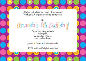 Bubbles and flowers make for a ton of fun! This bright, summery invitation is decorated with colorful polka dots and flowers against a purple background. Its great for any summer party, especially a birthday party. Includes white envelopes.