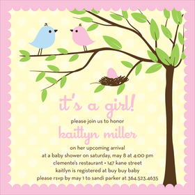 Its a girl!  This adorable invitation features a small blue and pink bird sitting atop a tree branch, with a small pink egg in a nearby nest.  A pink scalloped border frames the pale yellow and white background.   Also available in blue for boys and for twins! Digitally printed on 100lb cardstock and includes a white envelope.
