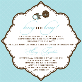 This eye-catching invitation features a robins egg blue border with a decoratively framed center area and adorable blue and chocolate brown baby rattle on top!   You can select your font color to match! Also available in pink, lime and buttercup.  Digitally printed on 100lb cardstock and includes a white envelope.