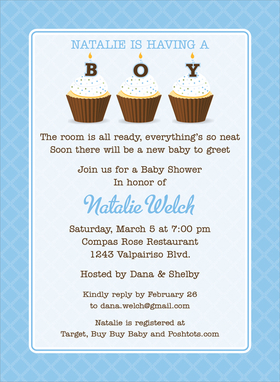 This eye-catching invitation features a bright blue lattice-inspired border and pale blue background.  Three yummy cupcakes each old a letter to spell BOY with matching blue candles and sprinkles.  Also available in pink!  Digitally printed on 100lb cardstock and includes a white envelope.