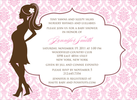 This striking invitation features the silhouette of a fashionable mother-to-be against a soft pink damask background.  The large center area for your text is gently framed with a decorative border.  Also available in blue, lime or buttercup. Digitally printed on 100lb cardstock and includes a white envelope.