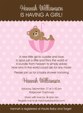 What an adorable way to announce a baby shower!   This invitation has a top and bottom scalloped border in chocolate brown.  A sweet little teddy bear is perched in a pink striped umbrella that matches the polka dot background.   Also available in blue, lime and buttercup.  Digitally printed on 100lb cardstock and includes a white envelope.