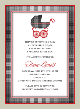 This popular baby shower invitation features a border and baby pram in black and white houndstooth print, with red accents and a taupe outside border.  Also available for twins!  Digitally printed on 100lb cardstock and includes a white envelope.