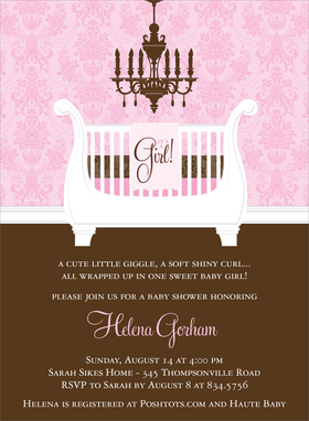 This elegant baby shower invitation features a regal white sleigh crib under an elaborate chandelier.  A soft pink blanket is draped over the side with the words Its a Girl.  The bottom portion for your text is a rich chocolate brown. Also available in blue, buttercup and lime.  Digitally printed on 100lb cardstock and includes a white envelope.