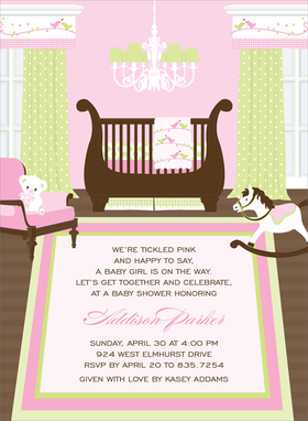 This captivating invitation features a precious nursery for a new baby girl!  Delicate prints in pinks and soft greens  decorate the windows and walls,  with matching bedding and chandelier.  This would also make a great birth announcement!  Other available themes include Nautical, Safari and Transportation.  Digitally printed on 100lb cardstock and includes a white envelope.