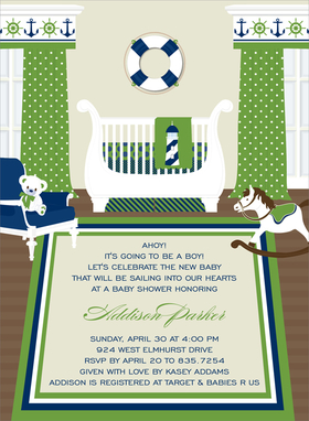 This captivating invitation features a nautical nursery ready for a new baby boy!  Colorful blues and greens decorate the windows and bedding of the ornate sleigh crib.  A rocking horse and white teddy bear complete the scene!  Other available themes include Safari, Birdies and Transportation.  Digitally printed on 100lb cardstock and includes a white envelope.