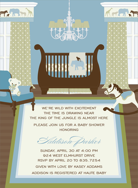 This enchanting invitation features a precious nursery ready to welcome a new addition!  Delicate prints in muted blues and taupe decorate the  bedding, drapes and floor rug.  The Safari theme continues with animal prints along the valance and on the baby blanket draped over the regal sleigh crib. Other available themes include Nautical, Birdies and Transportation.  Digitally printed on 100lb cardstock and includes a white envelope.