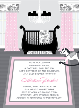 This enchanting invitation features  a beautiful baby girls nursery with a touch of old-fashioned elegance.  Beautiful pink drapes with a black and white toile valance adorn the windows, with matching toile bedding adorning the regal sleigh bed.  An ornate chandelier and rocking horse complete the picture! Digitally printed on 100lb cardstock and includes a white envelope.