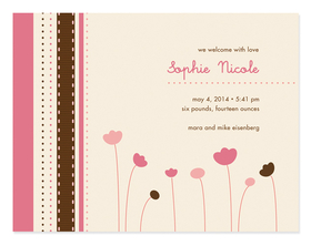 This cute, petite announcement is created with field of tulips in pink and chocolate against a cream background. It has a light pink and brown border along the left side. So cute for a baby shower invitation or birth announcement! Product includes white envelopes.
