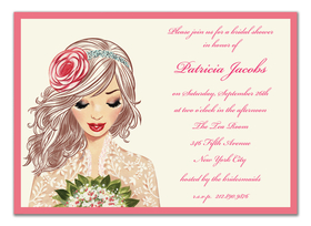 This royally inspired invitation from the Bonnie Marcus Collection features a beautiful bride with a flower accessory in her hair. This invitation is expertly printed on luxurious warm white heavyweight paper. A portion of the proceeds from the sale of this product is donated to breast cancer research and education. Warm white envelopes included.    PLEASE NOTE:  Price shown is for item WITHOUT glitter.  If ordering WITH glitter, then price is additional .50 per card.   Please specify in the comments section if you would like to add glitter. The glitter is very fine and will easily print on ink or laser jet printers.