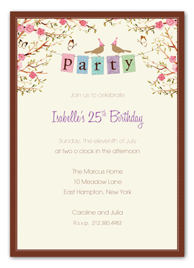 This fun invitation from the Bonnie Marcus Collection features a party banner with two birds wearing party hats.  This invitation is expertly printed on luxurious warm white heavyweight paper. A portion of the proceeds from the sale of this product is donated to breast cancer research and education. Warm white envelopes are included.   PLEASE NOTE:  Price shown is for item WITHOUT glitter.  If ordering WITH glitter, then price is additional .50 per card.   Please specify in the comments section if you would like to add glitter. The glitter is very fine and will easily print on ink or laser jet printers.