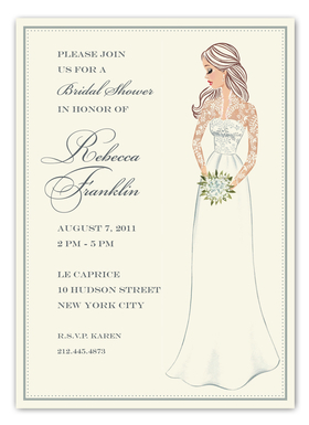 This royally inspired invitation from the Bonnie Marcus Collection features a bride holding a bouquet of white flowers wearing a wedding dress fit for a princess!  This stylish invitation is expertly printed on luxurious warm white heavyweight paper. A portion of the proceeds from the sale of this product is donated to breast cancer research and education. Warm white envelopes included.   PLEASE NOTE:  Price shown is for item WITHOUT glitter.  If ordering WITH glitter, then price is additional .50 per card.   Please specify in the comments section if you would like to add glitter. The glitter is very fine and will easily print on ink or laser jet printers.