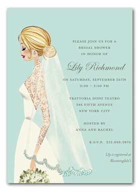 This royally inspired invitation from the Bonnie Marcus Collection features a beautiful bride with a long veil and diamond accessories. This invitation is expertly printed on luxurious warm white heavyweight paper. A portion of the proceeds from the sale of this product is donated to breast cancer research and education. Warm white envelopes included.    PLEASE NOTE:  Price shown is for item WITHOUT glitter.  If ordering WITH glitter, then price is additional .50 per card.   Please specify in the comments section if you would like to add glitter. The glitter is very fine and will easily print on ink or laser jet printers.