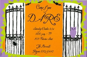 What a perfectly spooky way to invite guests to your Halloween party.....if they dare!  A black spider crawls across a wrought iron gate, and bats are flying along the top.  The large area for your text is bright orange and the green and purple border complete the picture! Includes a white envelope.