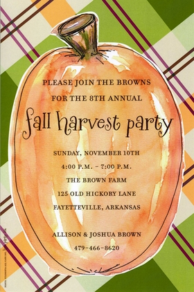 This stylish invitation features a large orange pumpkin against a plaid background in fall colors.  Perfect for a fall/autumn party or Halloween gathering!  Includes a white envelope.