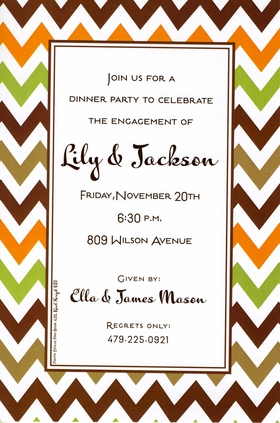 This stylish invitation is perfect for just about anything!  A zigzag border in fall colors surrounds the text area with a thin brown border.  Great for autumn gatherings, rehearsal dinners, or even a tailgating get-together.  Includes a white envelope.