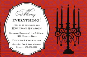 This elegant holiday invitation has a rich red decorative background with the black silhouette of a candelabra to one side and a large text area in a delicate black frame to the other. Perfect for holiday dinner parties!  Includes white envelope.