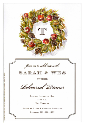 This beautiful holiday-inspired invitation is perfect for dinner parties or rehearsal dinners as well as holiday events.  A festive wreath with pinecones and red berries frames your monogram and the large text area has a decorative black frame.  Includes white envelope.