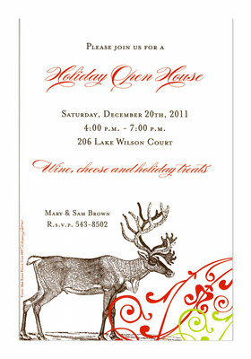 This versatile invitation features a large reindeer along the bottom with a delicate red and green scroll.  Perfect for any holiday gathering! Includes white envelope.