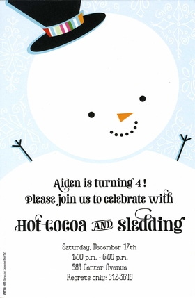 The adorable invitation featuers a large white snowman smiling broadly against a pale blue background with falling snowflakes.  The colorful band on his top hat adds a special touch! Perfect for your holiday time gathering! Includes white envelope.