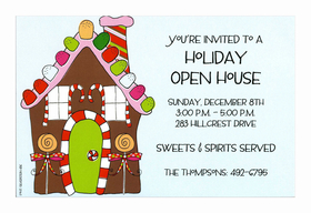 This yummy invitation shows a candy-covered gingerbread house complete with gumdrop roof and candy can window shutters!  What a delicious way to invite friends and family to your holiday open house or Christmas party! Includes white envelope.