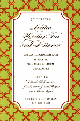 This versatile invitation is perfect for everything from holiday parties to bridal showers and rehearsal dinners!  The rich green border has a mosaic pattern of large red stars and the center text area is framed in red.  Includes white envelope.