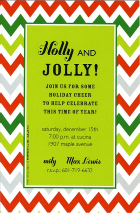 This festive invitation has a bright lime green center area surrounded by a colorful zig-zag border of red and green.  Perfect for a holiday-time party! Includes white envelope.