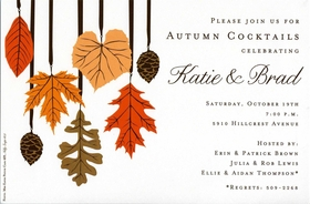 Pinecones and leaves in beautiful fall colors adorn this versatile invitation that is perfect for any fall-time gathering!  Includes coordinating envelopes.
