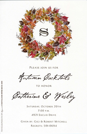 An elegant wreath in lovely fall colors frames an area for your monogram in this invitation that is perfect for any occasion this season! Includes ivory envelope.