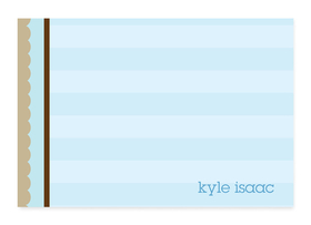 This cute, fold-over note card is created with a blue striped background and brown striped border along the left side. Personalize it with one line of text, such as a name. Perfect for a baby shower or new baby thank you note! Includes white envelopes.