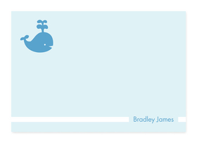 This cute, fold-over note card is created with a little blue whale against a light blue background. Personalize it with one line of text, such as a name. Perfect for a baby shower or new baby thank you note! Includes white envelopes.