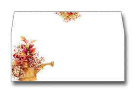 Autumn Watering Can Envelope - Perfectly coordinates with our designer paper.  All inkjet/laser envelopes have a design on the front and back flap.